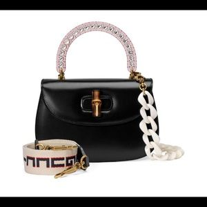 Gucci Perspex handle leather bag